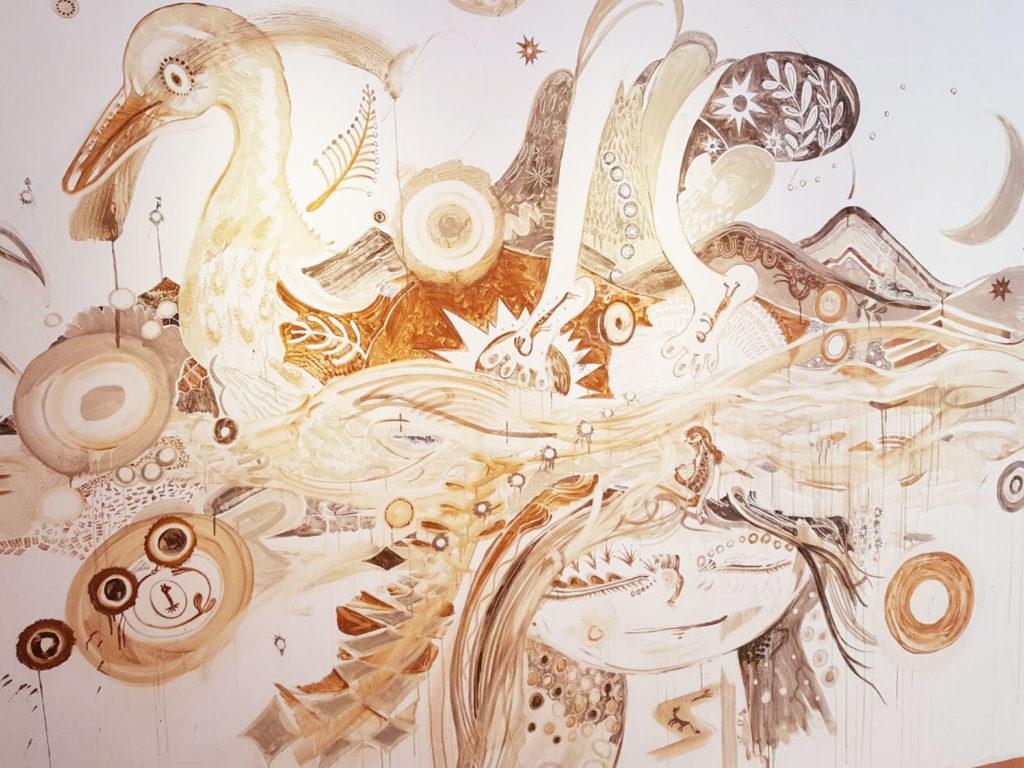 淺井さんの作品。 ヴァイナモイネン(ワイナミョイネン)が言葉の箱を開け、ものの起源を歌うシーン。