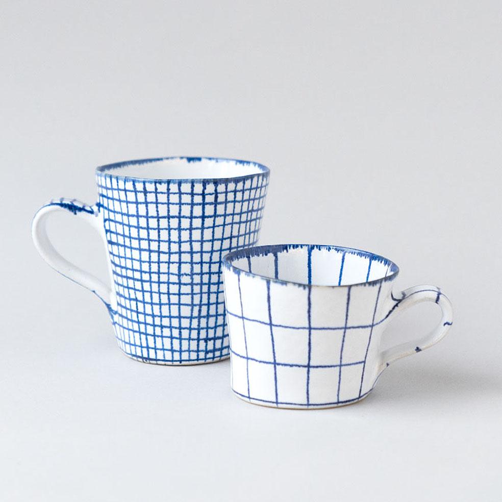 LifTe 北欧の暮らし スウェーデン マリアンヌ・ハルバーグ 陶芸 瀬戸焼 メッシュとチェックのカップ