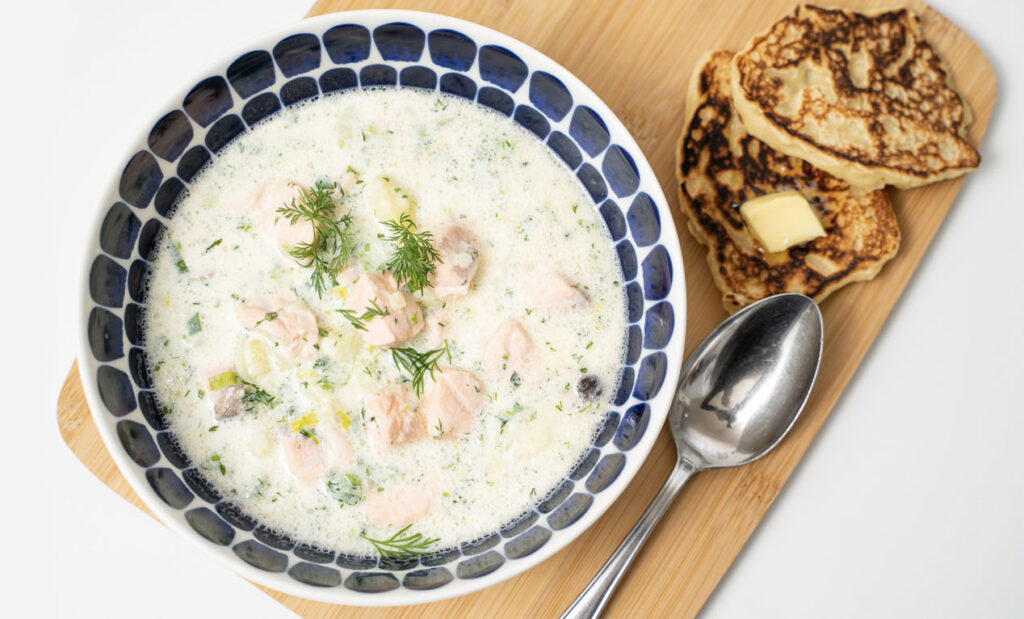 LifTe北欧の暮らし オンライン料理教室 北欧キッチン サーモンスープ フィンランド じゃがいもパン オフィスウタノ jukkaisokoski ソウルフード