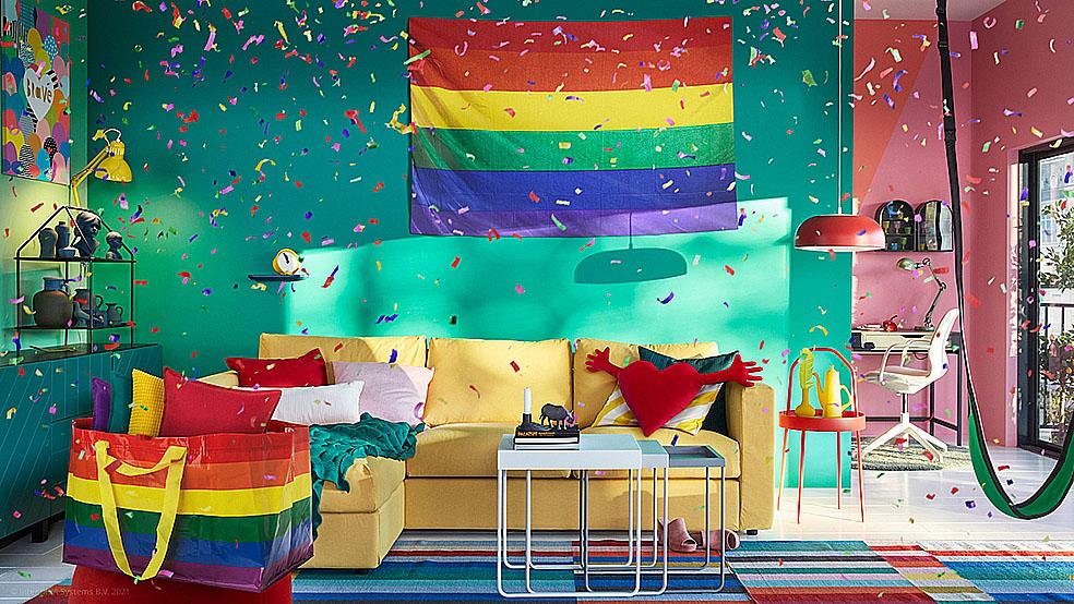 LifTe 北欧の暮らし スウェーデン イケア IKEA LGBT+ レインボー レインボーカラー STORSTOMMA ストールストッマ バッグ レインボープライド バーチャル背景画像
